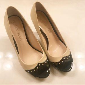 Franco Sarto Shoes - Franco Sarto Bruna Nude & Black Peep toe Pumps 5